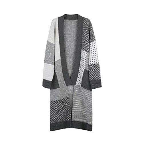 HanPaint Jesień zima kobiety dzianinowe kardigany luźny patchwork kolor krata odzież wierzchnia gruby sweter otwarte szwy kieszenie płaszcze