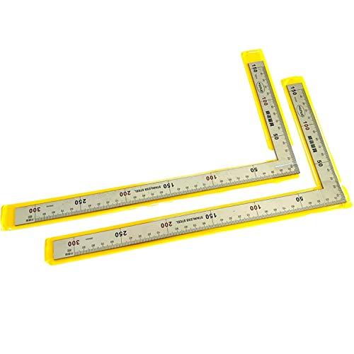 Leiasnow さしがね 30 物差し ステンレス 定規 直角 スコヤ 差し金 直角定規 曲尺 じょうぎ ものさし (2本セット(15x30cm))