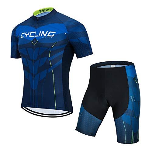 Ydshyth heren fietsshirt set fiets shirt korte mouwen fietsbroek ademende broek met 3D zitkussen jongens meisjes mountainbike fietsshirt, B, XL