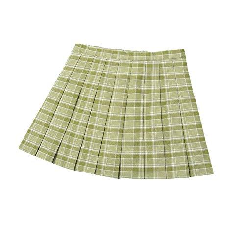 N\P Falda plisada para mujer, falda a cuadros, cintura alta, línea A, falda corta