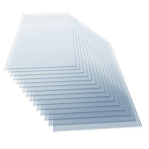 Lot de 15 Plaques en Polycarbonate - à Double Paroi, Épaisseur 4 mm, 121 x 60.5 cm, 11 m², Résistant aux UV, Transparent - Feuilles, Panneaux pour Serre de Jardin