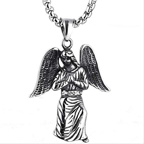CCXXYANG Co.,ltd Necklace Stainless Steel Necklace Angel Friends Pendant Men Retro Puchain Stly On Neck Necklaces Pendant Linecklace Men Gift for Women Men Gift