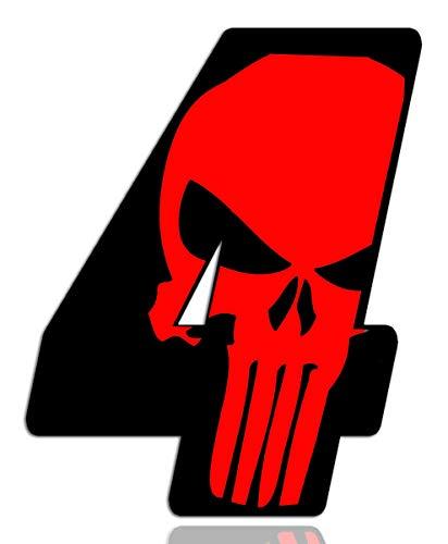 Biomar Labs® Startnummer Nummern Auto Moto Vinyl Aufkleber Sticker Skull Schädel Punisher Rot Motorrad Motocross Motorsport Racing Nummer Tuning 4, N 354