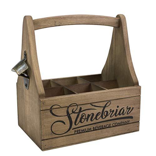 CKK Industrial SB-6245A Stonebriar Premium - Recipiente para cerveza con mango y abridor de botellas de metal, madera, color marrón