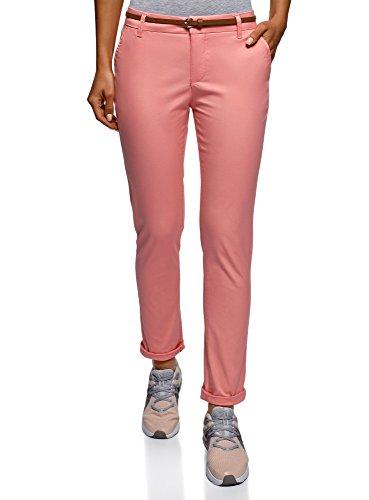 oodji Ultra Mujer Pantalones Chinos de Algodón, Rosa, ES 34 / XXS