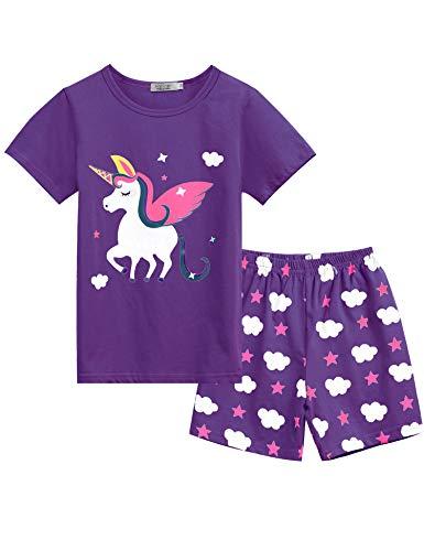 Bricnat Mädchen Schlafanzug Nachtwäsche Baumwolle Kinder Frühling Sommer Bekleidung Pyjama Set Kurze Ärmel Pyjama Zweiteiliger Schlafanzug Shorty,Tiefviolett 1,11-12 Jahre (150)