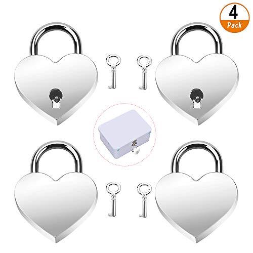 Herzform Schloss Liebesschloss Herzschloss 4 Stück Herz Liebe Vorhängeschloss mit Schlüssel Mini Schloss für Tagebuch Geschenkbox, Silber