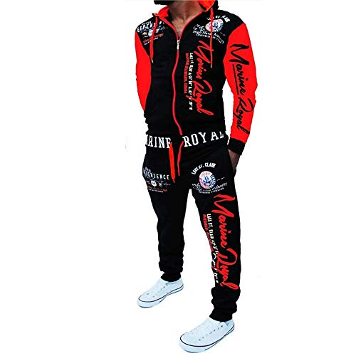 Men's Casual Tracksuit Hooded Full Zip Elastic Waistband Sweatsuit Set… Red