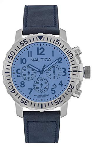 Nautica Herren Analog Quarz Uhr mit Leder Armband NAI19534G