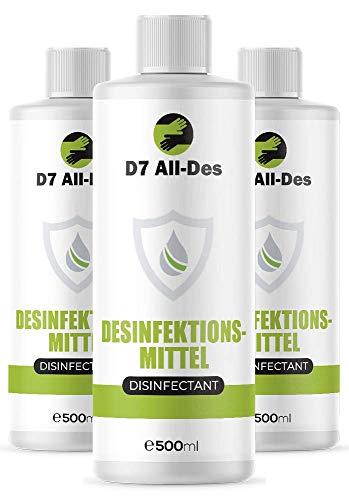 D7 All Des | Hygienemittel für Hände und Flächen | ohne Alkohol | 3 Flaschen, je 500 ml