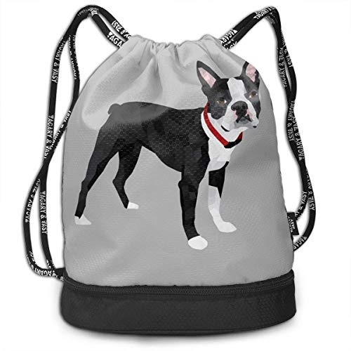 zhangyuB Men & Women Bolsa con cordón Theft Proof Lightweight Beam Bag, School Rucksack - Boston Terrier Grey Waterproof Backpack Soccer Basketball Bag