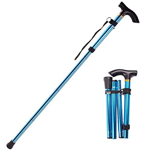 kiptyg Bastones para Mayores, Bastón Plegable Ajustable, Bastón Extensible para Caminar, Plegado rápido, Adecuado para Personas de Mediana Edad y Mayores (aleación de Aluminio, Azul, 1 Pieza)