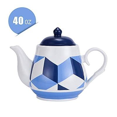Teapot,40oz Ceramic Large Serving Teapot Leaf Tea pot Modern Style for Art Gift,Navy