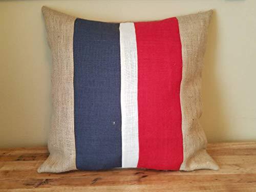 Thomas655 aangepaste strepen rood wit blauw natuurlijk of maak eigen kleuren rustieke jute kussens Coversham