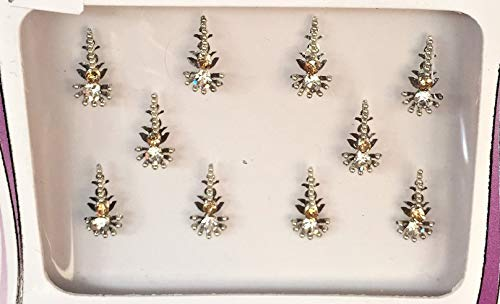B2640 Silber Gold Diamant Bindi Tattoo Stirn Aufkleber Hochzeit Tikka Bindi Bollywood Saree