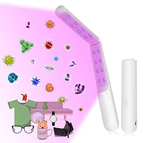 UV Sterilisator, Sterilisateur UV handy Sterilisator Tragbare LED mit 16 Lampenperlen UV Stab Desinfektionslampe Sterilisationsrate von 99,9%, Wiederaufladbare Arbeiten 60 Minuten für Heim, Hotel