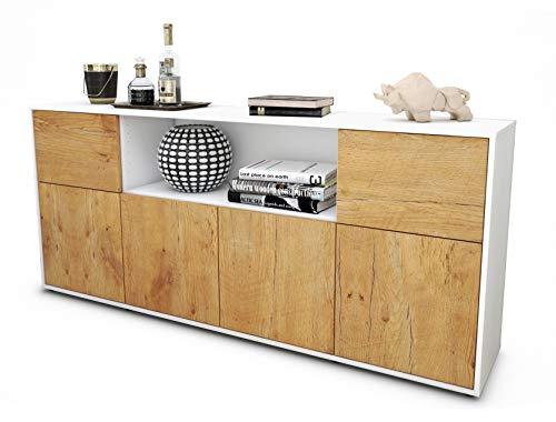 Stil.Zeit Sideboard Ermentrude/Korpus Weiss matt/Front Holz-Design Eiche (180x79x35cm) Push-to-Open Technik