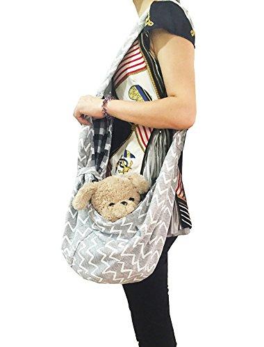 TIGER MAMA Reversible Pet Sling Carrier for Pets Up to 12+ lbs (Adjustable Shoulder Strap Version) 2