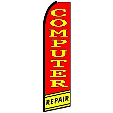 Computer Repair Advertising Feather Banner Swooper Flag Sign with Flag Pole...
