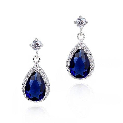 Lágrimas Pendientes con Zafiro simulado azul Cristales austríacos de Zirconia 18k Chapado en oro blanco para mujer