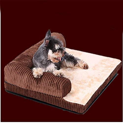 LIZONGFQ Deluxe Extra Large Pile Bed Memory Foam Cane Divano Materasso per Cani Grandi, Utilizzando Ad Alta Elasticità Rimbalzo Lento Solid Memory Foam, Staccabile E Lavabile,Marrone,S