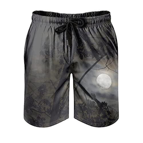 kikomia Bañador para hombre, diseño de árbol oscuro, con estampado de noche lunar, cómodo y con bolsillos