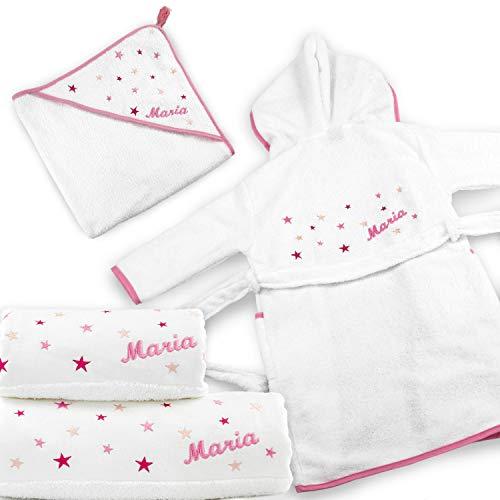 BGEUROPE - Juego de baño para bebé, diseño de estrellas, color rosa (juego de 4 piezas (albornoz - 2 años)