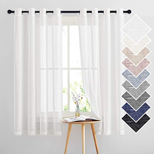 """NICETOWN White Sheer Linen Curtains Flax for Bedroom, Vintage Grommet Top Linen Textured Semitransparent Privacy Window Treatment Light Filtering for Living Room, 52"""" W x 63"""" L, Set of 2"""