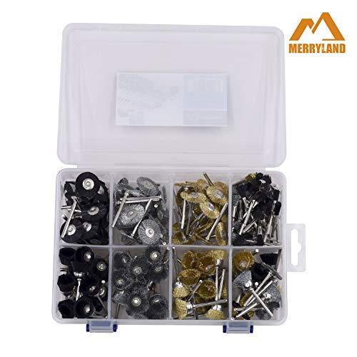 Merryland Mini Utensil Rotante Accessori 180 pcs Set Mini Spazzola in Acciaio al Carbonio Ottone Setola a Disco Tazza Pennello