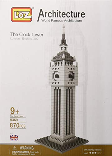 LOZ 9369 Micro Blocks, British Clock Tower Model, Small Building Block Set,(870 Pcs), Makes a Great Stocking Stuffer