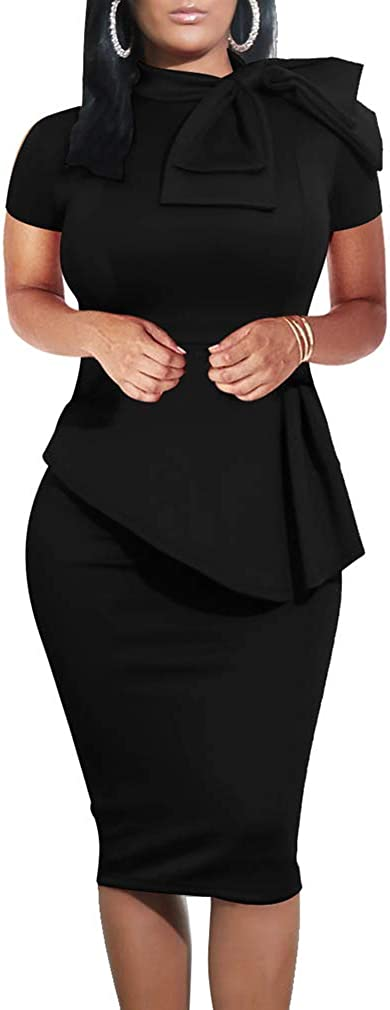 LAGSHIAN Women Fashion Peplum Bodycon Short Sleeve Bow Club Ruffle Pencil Party Dress