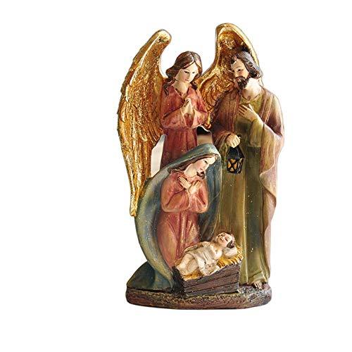 aasdf Krippenstatue, Statue der Heiligen Familie Katholische Jesus-Skulpturenstatue Ostern Gemaltes Harz Dekoration...