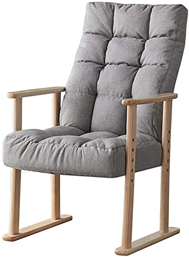 ZGYZ Solid Wood Reclining Chair Leisure Armchair Sofa Chair Living Room/Bedroom/Balcony Upholstered Lounge Chair,Seat Height/Backrest Adjustable,Family Practical Chair