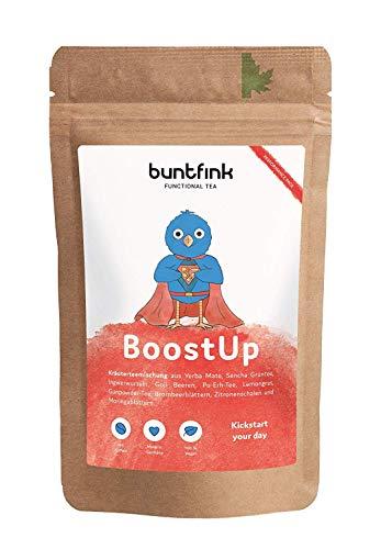 "Buntfink ""BoostUp"" Morgen-Tee mit Koffein (Teein): Yerba Mate + Sencha Grüntee + Goji + Moringa, 100% natürlicher Kräutertee aus Deutschland, 60g loser Tee. Buntfink"