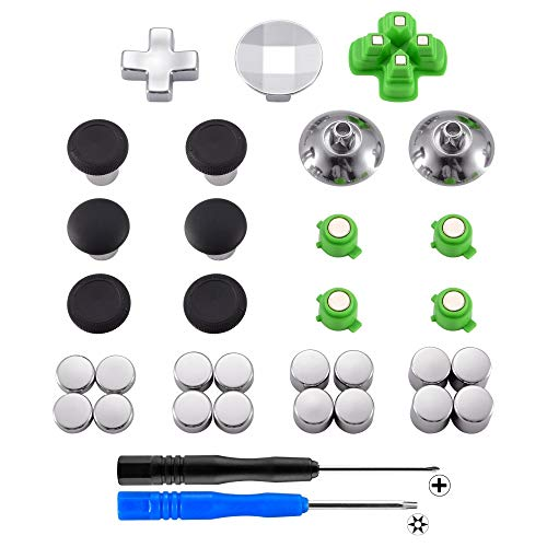 eXtremeRate Magnetic Metal Bullet Buttons Dpads, Aluminium Thumbstick Joystick Adustable Height, Replacement Parts for Playstation 4, PS4 Slim,PS4 Pro Controllers (31 in 1)