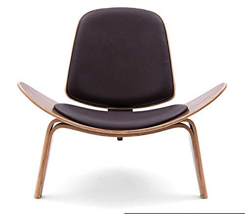 Silla Chairs Nordic Leisure TriáNgulo Shell Aircraft Chair Creativa Bolsa De Cuero De Madera con Respaldo Alto 910 * 820 * 745mm