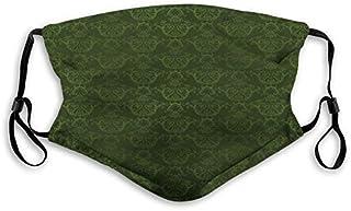 Bekväm tryckt mask, jägargrön, viktoriansk damast rokoko renässans virvlade klassiska blomblad mönster, jägargrön, vindtät...