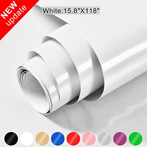 White Contact Paper for Cabinets, Johgee 15.8