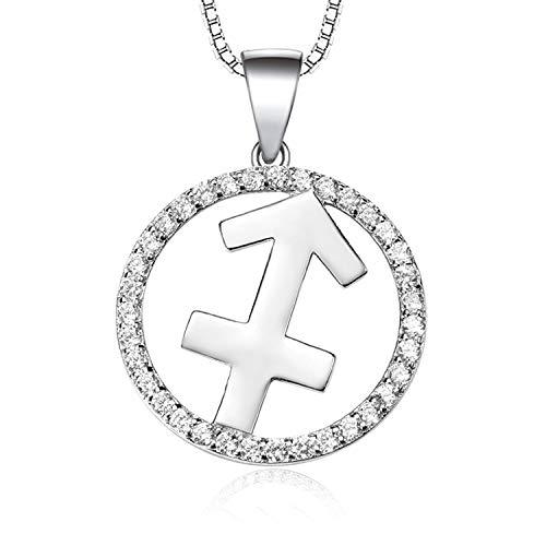Werylee Silber Kette 925 Silber Zirkonia Horoskop Sternzeichen 12 Sternbild Schütze Anhänger Halskette für Damen