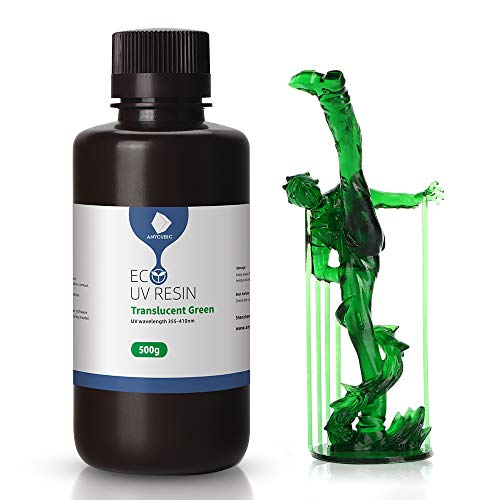 Anycubic Plant Based UV 3D Print Resin, 500ml 405nm Rapid Photopolymer Resin Ultralow Odor Resin for Photon/S LCD DLP SLA Printers (Translucent Green)