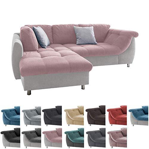 lifestyle4living Ecksofa in Rosa und Hellgrau mit Schlaffunktion | Eckcouch Eckgarnitur Polsterecke Sofa | Moderne Wohnlandschaft mit Rückenkissen und Zierkissen