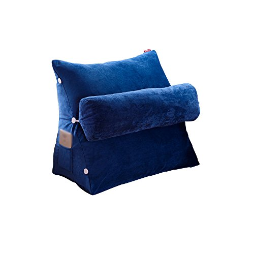 coussins pour Coussins Triangulaires De Taille De Chevet Coussins Empilables Amovibles De Canapé De Bureau Coussins Oreiller De Paquet Souple (Couleur : Blue, taille : 48 * 60)