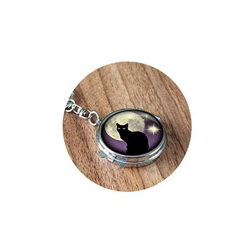 bab Porte-clés Chat Noir et Violet, Chat Noir et Violet - Miroir Pliable - Portable - Poche Ronde - Cosmétique