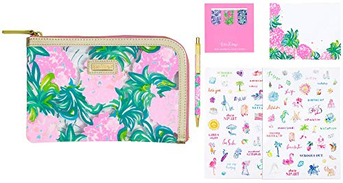 Lilly Pulitzer Pencil Case with Planner Accessories, Agenda Pack Includes Zip Pouch, Stickers, Magnets, Notepad, and a Black Ink Pen, Pineapple Shake