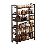 Zapatero Rack de zapatos de bambú de 6 pisos. Estante de almacenamiento de rack de zapatos de 70 cm de ancho. Puede acomodar hasta 24 pares, ideal for el baño de entrada (marrón) Armario Zapatero