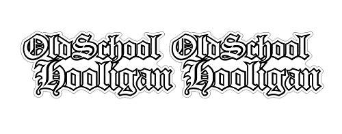 Oldschool Hooligan Aufkleber 2x15cm weiss-schwarz Biker Mofa Moped MC 1% Auto Hot Rod Muscle Car V8 Sticker / Plus Schlüsselringanhänger aus Kokosnuss-Schale / Motorrad Bike Helm Laptop Racing Tuning