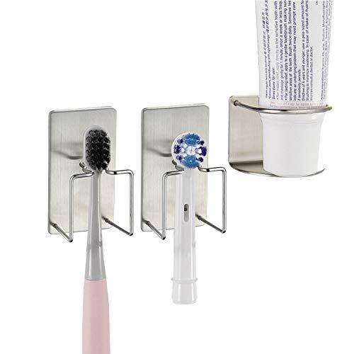 Aolvo Zahnpasta- und Zahnbürstenhalter, Wandmontage, universal, Edelstahl, Halterung für Zahnbürste, Zahnpasta, Becher, Aufhänger für Badezimmer selbstklebend und antibakteriell, 3er-Set 3 Stück