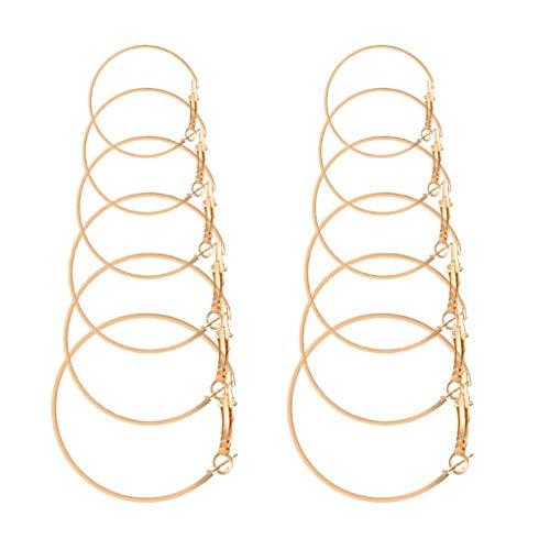 Damen Schmuck, Jessboy kreative neue großer Kreis Ohrringe Ohrringe 6 Paare Abendanzüge