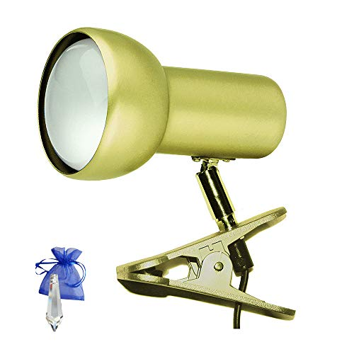 Klemmstrahler Gold E27 Messing matt Klemmlampe Klemmleuchte Spot Klammerspot Leselampe für LED und Glühlampe R80 Reflektorlampe + Give-Away