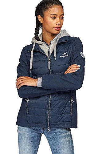 KangaROOS Damen Jacke Materialmix Softshell Steppjacke Sweat Kapuze … (Marine, 32/34 (XS))